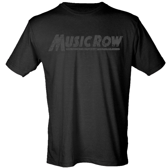 Music Row Black Distressed Logo Tee